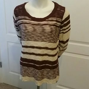 Sweater Burgundy and Cream strip. XL by Pink Rose